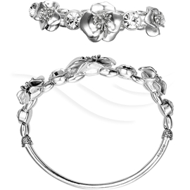 Silver Plated Crystal Flower Bracelet