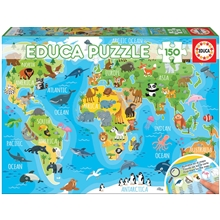 Puslespil 150 Brikker World Map Animals